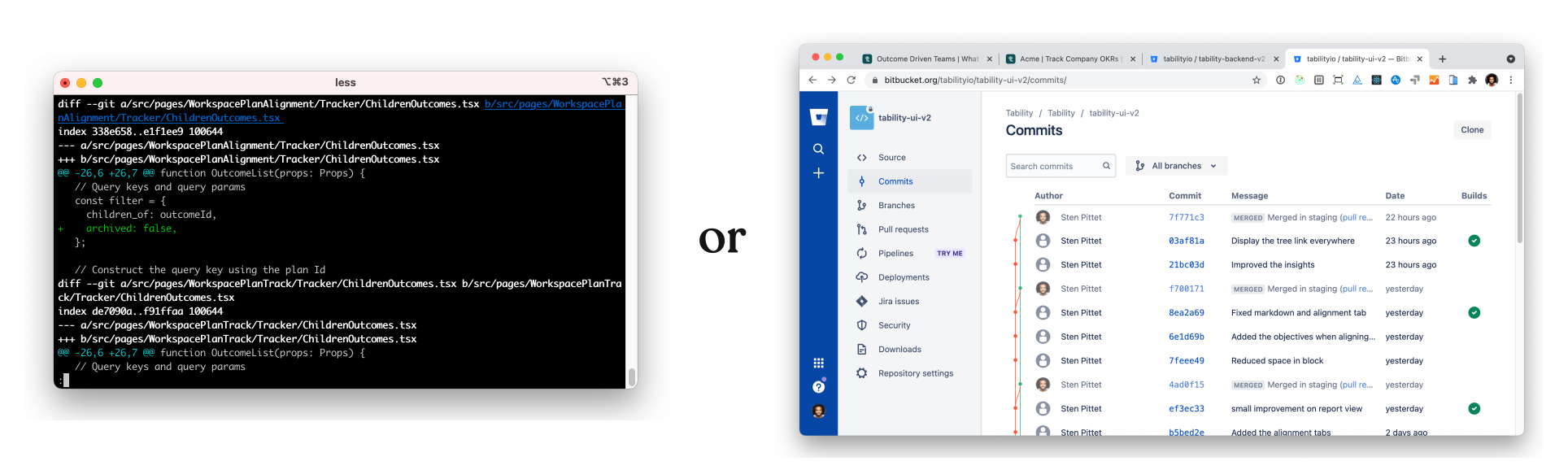 This is a picture showing a Git in a terminal vs. using Bitbucket.